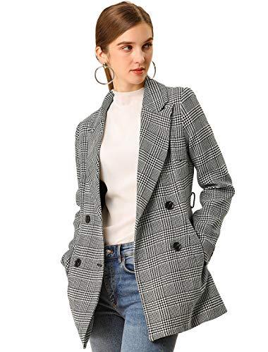 Allegra K Women's Plaid Houndstooth Jacket Button Belted Outwear Checks Work Formal Blazer L Black
