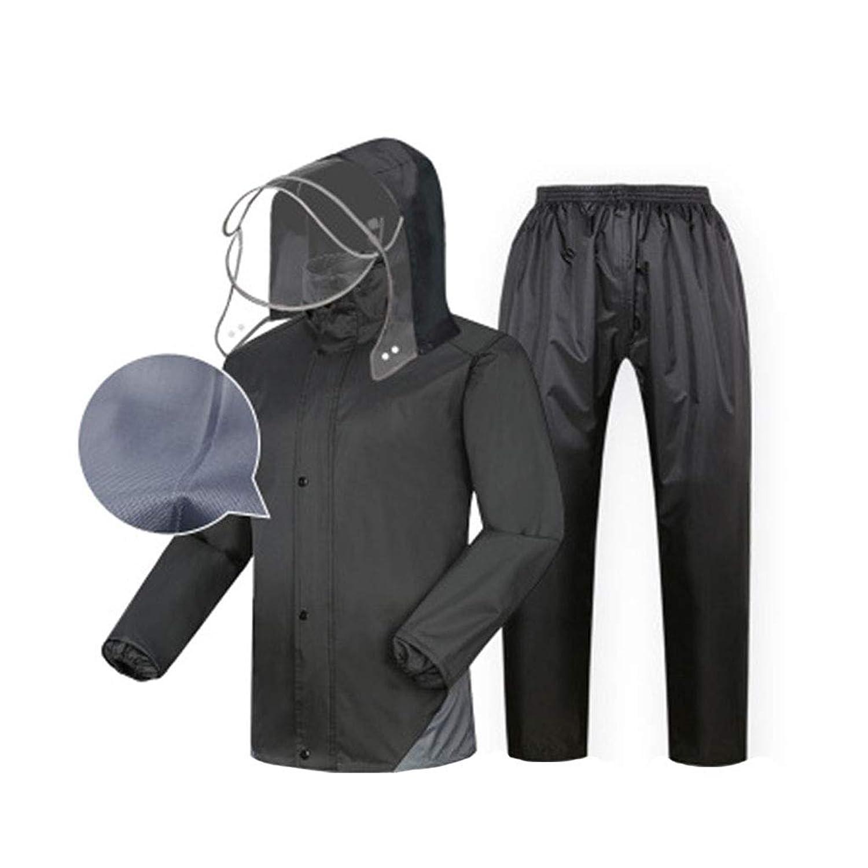 レインコート ユニセックススプリットスーツ (反射レインコート+防水レインコート) 通気性のダブル防水パッド入り釣り/アウトドアライディング ブラック