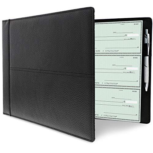 チェックバインダー???3-on-a-pageビジネス小切手帳ホルダーwith 7リング???600チェック容量???完璧コピーの保存と保護Checks???ブラック、14.2?X 2?X 9.9?CM