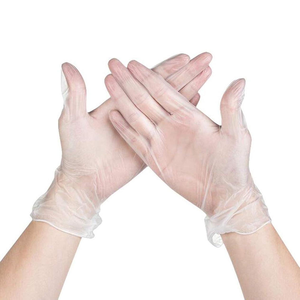 良心周辺発火するRaiFu 使い捨て手袋 パウダーフリー 防水 オイル耐性 透明 PVC手袋 100個 透明 XL