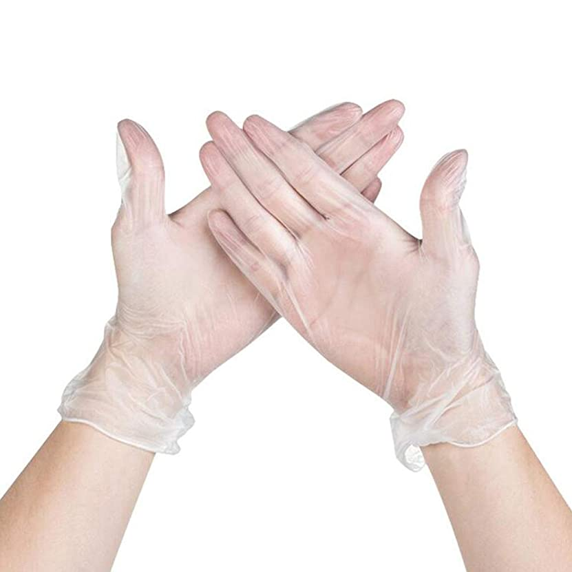水分本能責RaiFu 使い捨て手袋 パウダーフリー 防水 オイル耐性 透明 PVC手袋 100個 透明 XL