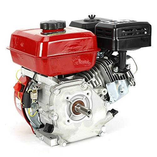 Benzinmotor Standmotor, 7.5 HP 4 Takt OHV Benzinmotor 5.1 KW 3600 U/min Standmotor Kartmotor Mit Ölalarm (Weiß Rot)