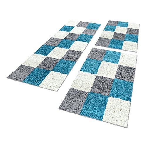 Shaggy Hochflor–Alfombra Carpet 3piezas para cama camino Set Dormitorio Piso, polipropileno, turquesa, 2x80x150+1x80x250