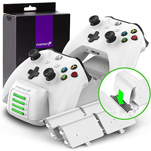 Fosmon Quad PRO Ladestation Kompatibel Mit Xbox One/One S/One X/Elite (Nicht Für Xbox Series X/S 2020) Controller, Dual Dock + 2 Akku Ladeschacht Docking Station, 4 Wiederaufladbare Batterie - Weiß