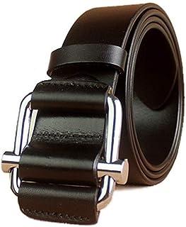 Casual formal men's belt Men's leather belt jeans belt super soft casual belt without bucket 3fe3fde3ew (Color : Free size...