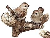 dekojohnson Deko-Figur Vogel-Paar auf einem AST Herbstdeko Winterdeko Weihnachtsdeko Tierdeko Spatz Wintervogel Gartendeko braun geeist 46x28cm