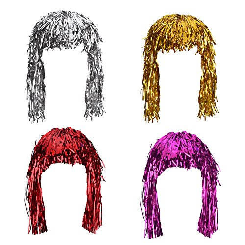 Sumind 4 Pieces Foil Tinsel Wigs Fancy Dress Shiny Party Wig Metallic Costume Cosplay Supplies (Gold, Silver, Red and Pink)