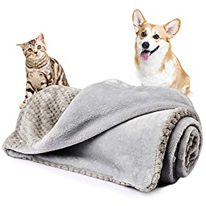 Onarway Bilayer Fluffy Sherpa Dog Blankets Thicken 23.6 x 31.5 inch Soft Washable Pet Throw Blanket Sleep Bed Mat for Dogs Puppy Cats & Other Small Pets Grey