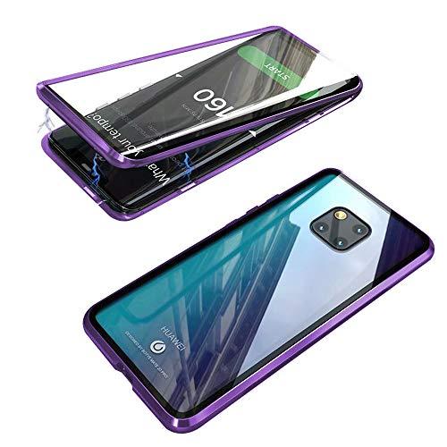 Jonwelsy Funda para Huawei Mate 20 Pro, Adsorción Magnética Parachoques de Metal con 360 Grados Protección Case Cover Transparente Ambos Lados Vidrio Templado Cubierta para Mate 20 Pro (Morado)