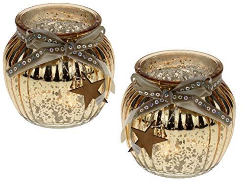 Bada Bing 2er Set Windlicht Gold Aus Glas Holz Stern bauernsilber Bändern Wunderschönes Stimmungslicht 61