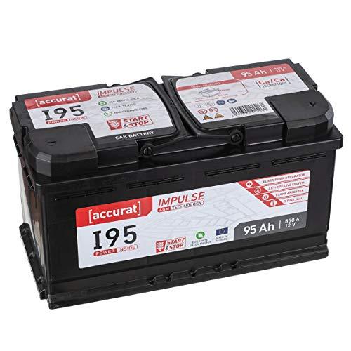Accurat AGM Autobatterie I95 12V 95Ah 850A Starterbatterie für leistungsstarke Fahrzeuge mit Komfortausstattung, Start-Stop Automatik, wartungsfrei