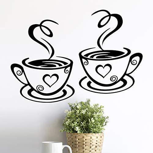 2 tazas de pared de arte de la cocina pegatinas de vinilo adhesivo de frases de amor etiqueta de pub decoración de café té decoración mural extraíble paredes calcomanías taza negro decoración