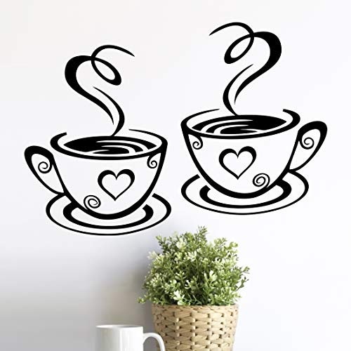 2 tazas de pared de arte de la cocina pegatinas de vinilo adhesivo de frases de amor etiqueta de pub decoración de café té...