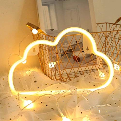 Decorative LED Neon Night Light,WONFAST USB and Battery Operated Shaped Night Light Wall Lighting Table Decor for Children's Room Party Christmas Wedding Decoration (Cloud-Warm)