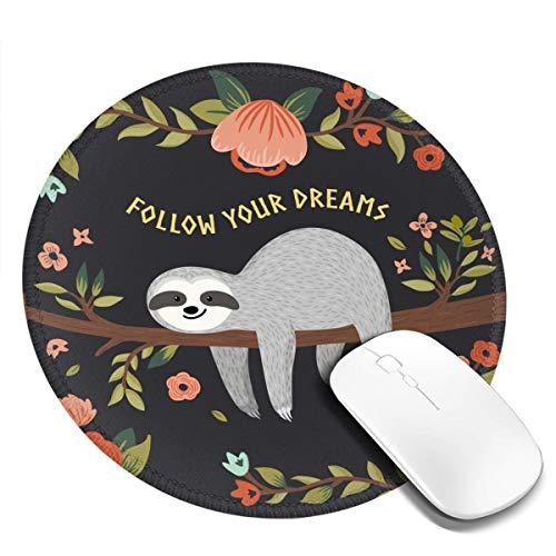 Alfombrilla de ratón para ratón con texto en inglés 'Follow Your Dreams', de goma antideslizante, con borde cosido, resistente al agua, para oficina, ordenador portátil