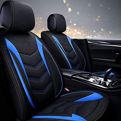 Volledige set katoenen linnen autostoelhoezen, universele vier seizoenen ademende airbag-compatibele en gedeelde bankbeschermers,C1