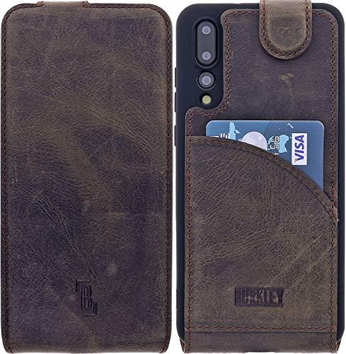 Burkley Handyhülle für Huawei P20 Pro Hülle kompatibel mit Huawei P20 Pro Schutzhülle Flip Handytasche mit Kartenfach (Antik Braun)