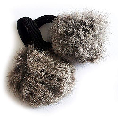'Main® Une paire de ruban de Pom Pom De Cheveux, couleurs assorties, pompons décoratives charmant Lapin W/bande – 2.5 Pom Pom Real Grey Rabbit Fur