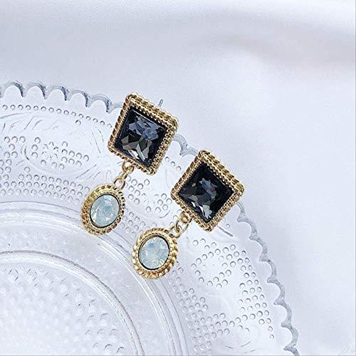 Pendiente cuelga aretes de temperamento de aguja de plata de geometría de cristal de lujo de clase alta para mujer