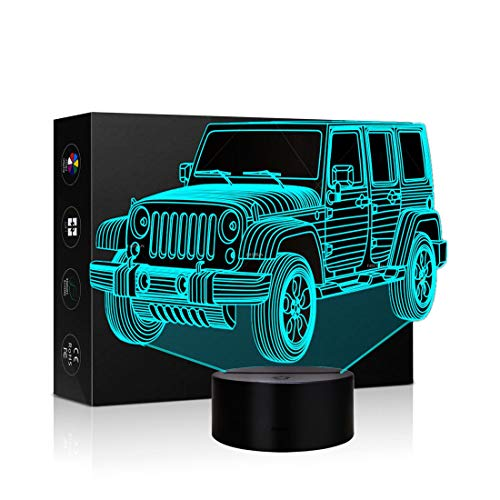 Car Gifts Night Lights for Kids Birthday Gifts 3D Illusion Lamp Optical Desk Table Touch Nursery Party Western Children Bedroom Decor 7 Color Change USB Car Toy for Boys Room and Baby Gifts (Jeep)
