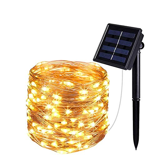 X-LSWAB Solar LED String Lights 30m 300LEDs Solar Fairy Rope Lights Warm 8 Modes Solar Powered Waterproof Outdoor Wire Lights For Bedroom Patio Outdoor Garden Stroller (Color : 30m 300led Warm)