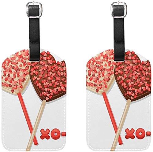 Juego de 2 Etiquetas de Equipaje Valentine Heart Lollipops Etiquetas de Maleta Accesorio de Viaje