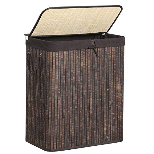 SONGMICS Double Laundry Hamper with Lid, Divided Bamboo Laundry Basket...