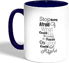 كوب سيراميك للقهوة، لون ازرق، بطبعة عبارات باللغة الانجليزية