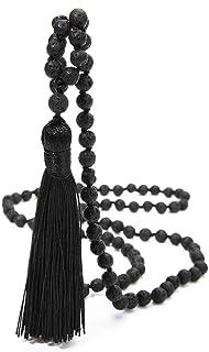 BALIBALI 8MM Beads Chakra Long Mala Necklace Natural Stone Meditation Statement Necklace Japa Yoga Rosary Prayer Charm Bea...