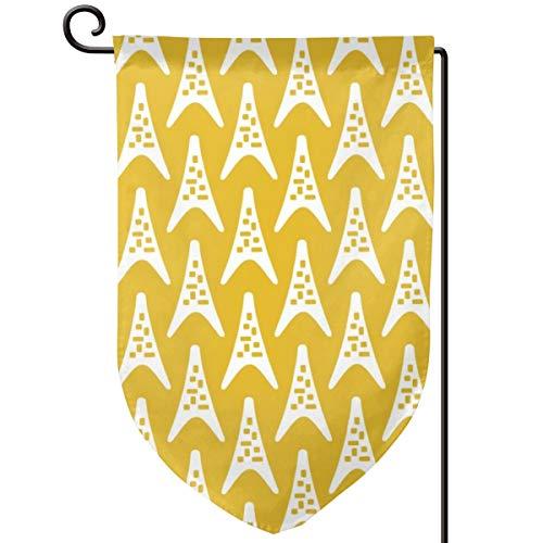 Lilyo-ltd Mid Jahrhundert moderner Bumerang Dreieck-Muster Senfgelb Garten Hofflagge 31,75 x 45,7 cm doppelseitig Polyester Willkommen Haus Flagge