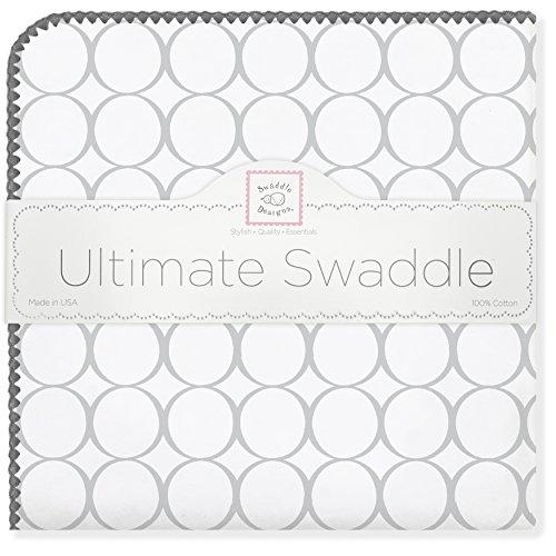SwaddleDesigns Ultimatives Pucktuch, Premium Baumwollflannell, Poppige Kreise auf weißem Grund, Silberfarben