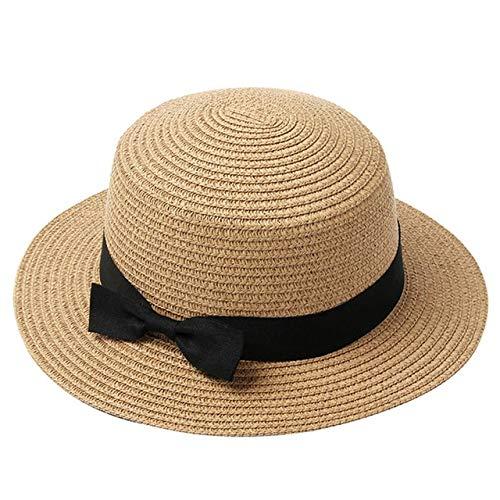 Sombrero de Verano para Mujer, Sombrero de Paja para Playa, Gorro para Mujer, Sombreros de Sol con Lazo de ala Plana Informales Hechos a Mano a la Moda para Mujer-Khaki-Child 50-54cm