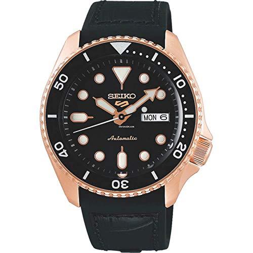 Seiko SRPD76 Seiko 5 - Reloj deportivo para hombre, 42,5 mm, acero inoxidable, color negro