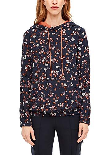s.Oliver RED Label Damen Blusenshirt mit Kapuze Navy floral AOP 46