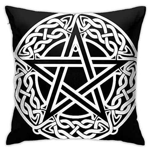 ADONINELP Throw Pillow Cover Celtic Knot Pentagram Black Star for Bedroom Livingroom Sofa Car Square Decor Pillowcase (18' 18') 1pc