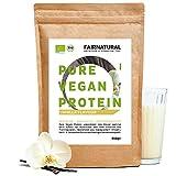 Protein-Pulver Vegan BIO Vanille ohne Soja [aus Deutschland] - 3K Bio Reis-, Hanfprotein & Erbsenprotein » Zum Backen & als Bio Eiweiß-Shake « 650g Veganes Bio Eiweißpulver
