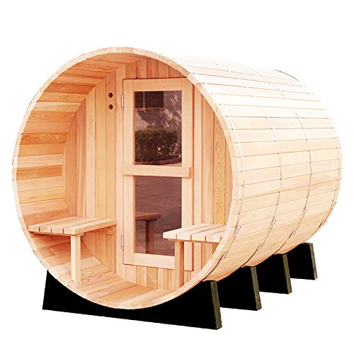 RGX 4-6 Persons Traditional Hemlock Wooden Barrel Sauna Made with Harvia Sauna Electrical Heater and Sauna Stove