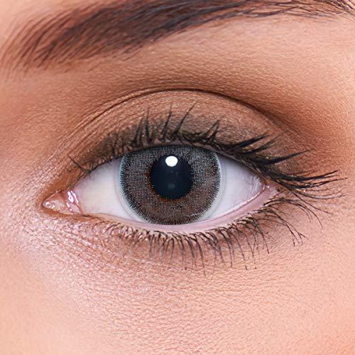 LENZOTICA Sehr stark natürlich deckende graue Kontaktlinsen farbig NATURAL DARKGREY + Behälter von LENZOTICA I 1 Paar (2 Stück) I DIA 14.00 I ohne Stärke I 0.00 Dioptrien