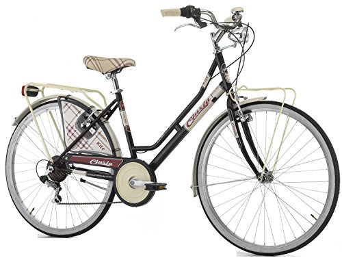 Cicli Cinzia Bicicletta 26' Citybike Kilt Donna 6/V Revo Shift V-Brake Alluminio, Nero