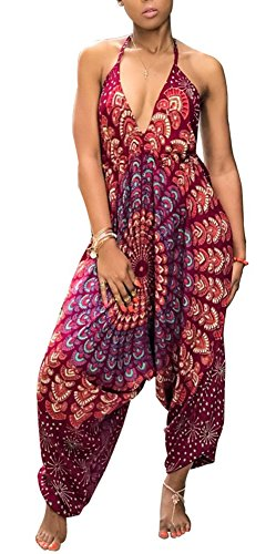 Kafiloe Womens Boho African Print Spaghetti Strap Loose Fit Harem Jumpsuit Rompers Pants Long Summer Casual Wine Red L