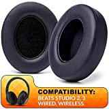 WC Wicked Cushions Replacement Ear Pads Compatible With Beats Studio 3 Headphones - Also Fits Beats Studio 2 / Studio Wired & Studio Wireless - Enhanced Comfort, Durability & Improved Adhesive - Black