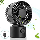 Hianjoo Petit Ventilateur de Bureau USB, Ultra Silencieux Mini Ventilateur de Vent...