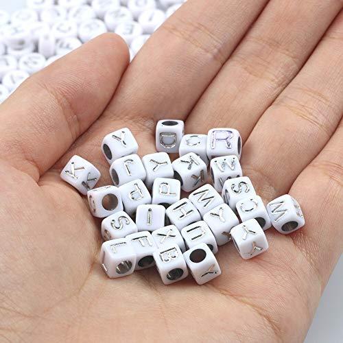 盛世汇众 200 unids/Lote 6 mm Letra mezclada Cuadrada de acrílico acrílico Cubo Perlas de Espaciador Sueltas para la joyería Que Hace Hecha a Mano Bricolaje Pulsera al por Mayor