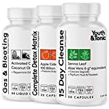 3pk Digestive Cleanse Detox & Bloating Gas Relief Pills w/ Senna Colon Cleanser Laxatives Enzymes Probiotics Prebiotics Activated Charcoal | Better Digestion Gut Cleanse for Constipation | Men & Women