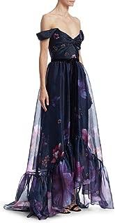 Women's Off Shoulder Hi-Lo Printed Organza Gown