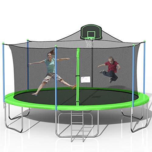 Tatub 1000LBS 16FT Tram-poline for Kids, Outdoor Tram-poline with Safety Enclosure Net Basketball Hoop and Ladder, Tram-poline for Adults (Green&Grey)