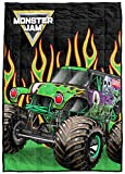 Monster Jam MJ Flame On Weighted Blanket 5 lbs - Measures 36 x 48 Inches, Kids Bedding Features Grave Digger - Fade Resistant Super Soft Velboa (Official Monster Jam Product)
