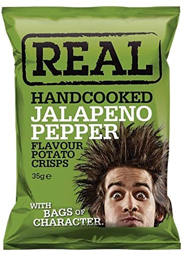 Real Handcooked Jalapeno Pepper Flavour Potato Crisps 50 g - 18 Count