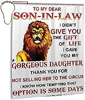 法の私の愛する息子へのライオン私はあなたにシャワーカーテンを与えませんでした、バスルームのカーテンの装飾のためのポリエステル防水布浴槽セットフック付き60 X72インチ-鉄-ワンサイズ