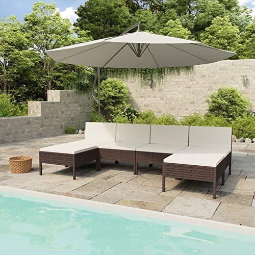 Ksodgun Set Muebles de jardín 6 Piezas y Cojines Conjunto de Jardín Set Conjunto Jardin Muebles Exteriores ratán sintético Marrón + Blanco Crema